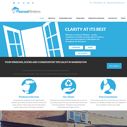 web-design-warrington.co.uk sample clearseal windows website