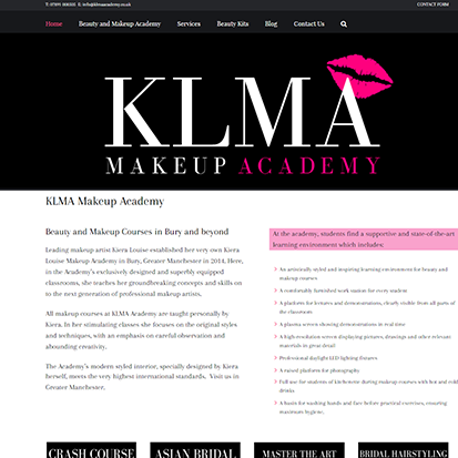 web-design-warrington.co.uk sample klma-makeup-academy-manchester website