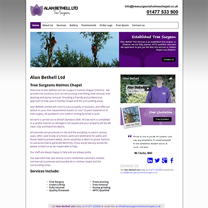web-design-warrington.co.uk sample Tree Surgeons Holmes Chapel website