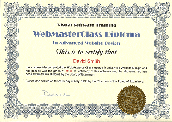 Webmaster Diploma - Web-Design-Warrington.co.uk
